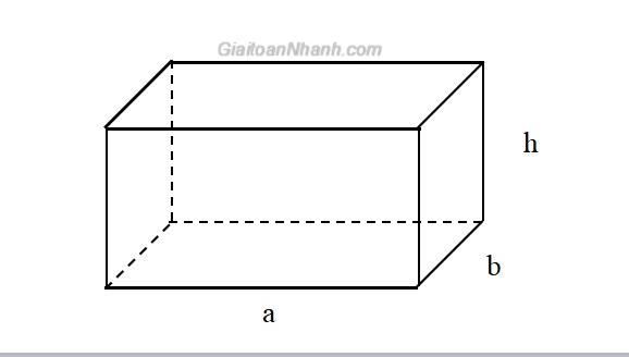 minh họa diện tích hình hộp chữ nhật